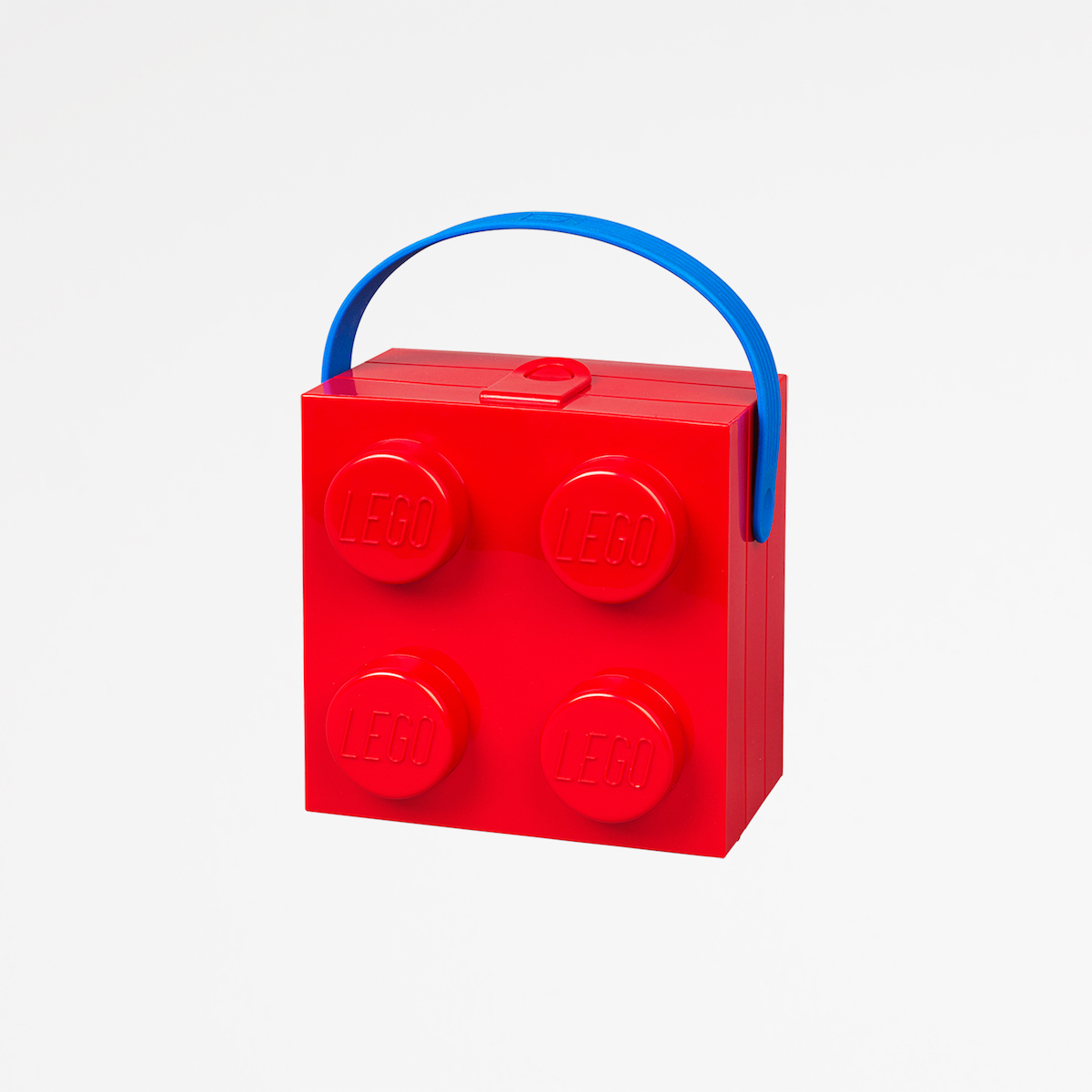 Lego box with handle, 2by2, plastic, organise, kid, lunch, red