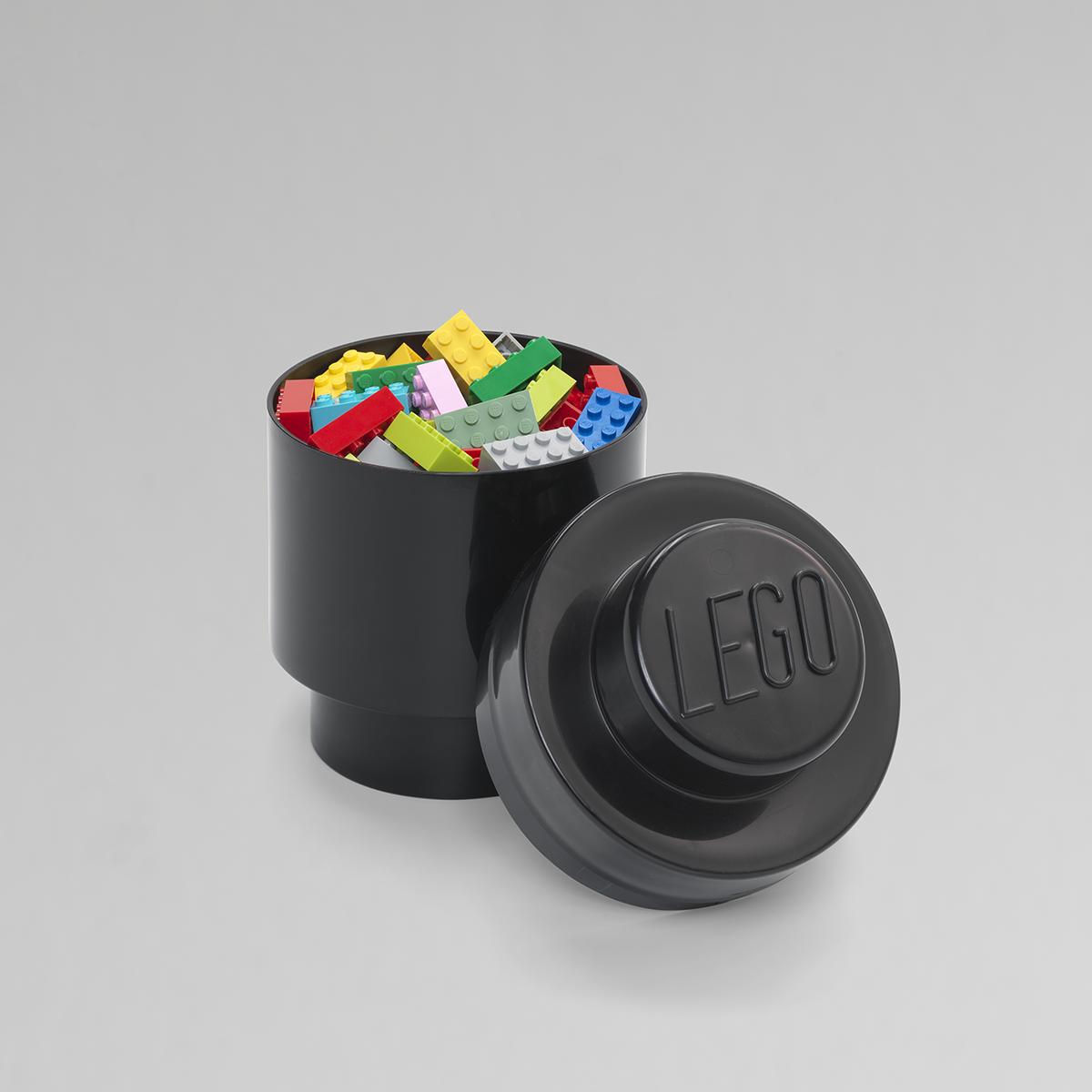 in Black LEGO Storage Brick with 1 Knob