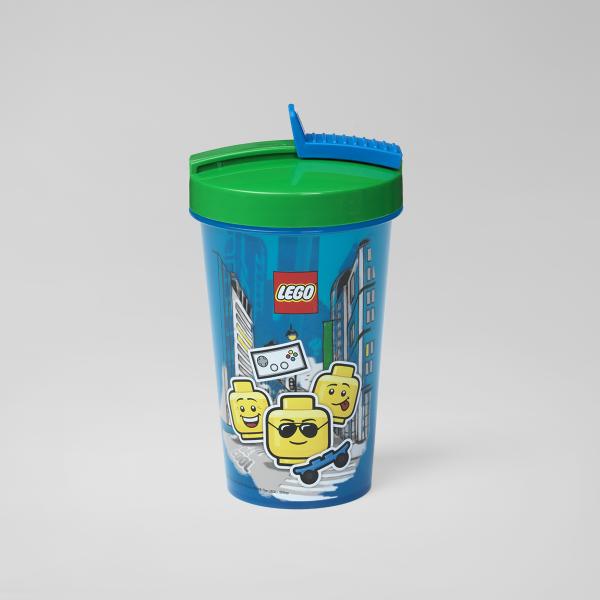 tumbler straw, classic, boy, kindergarten, break, sporty, activity, hydration, plastic, lego