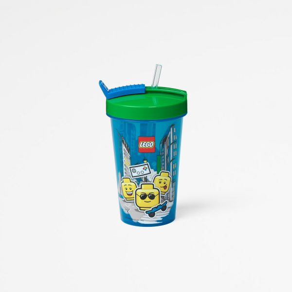 Lego tumbler with straw, drinking, plastic, children, food, happy, green