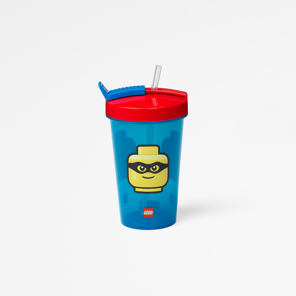 Lego tumbler with straw, collection, lunch, lego head, kids, fun, blue