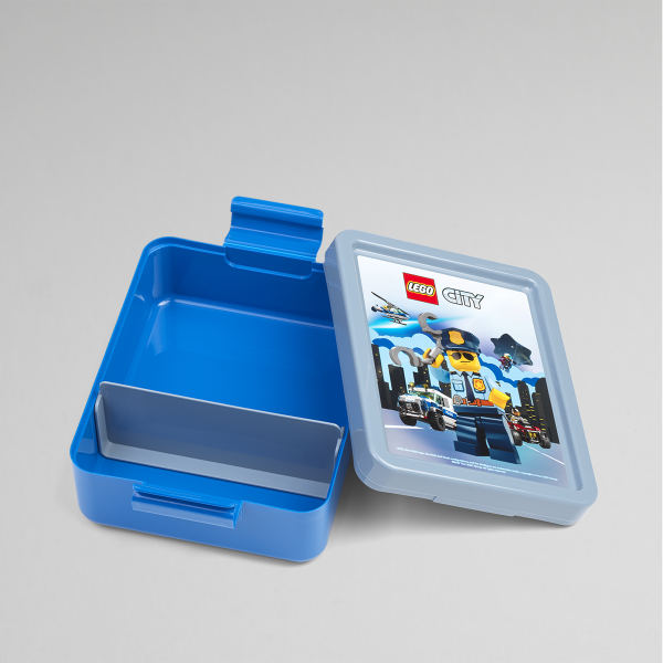 Lego lunch Box, City, collection, snack, toddlers, fun, creative, blue, open
