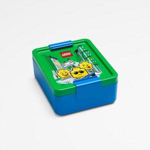 Lego lunch box, food, nutritious, fun, lego head, play, green