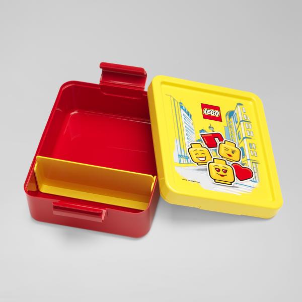 lego lunch box, girl, classic, joy, yellow, happy, fruit, snack, full, plastic,