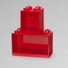 Lego, brick shelf set, red, storage, small, large, buildable, game