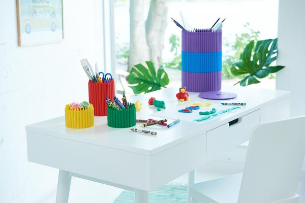 Crayola Crayon Cup, Crayola Round Storage Boxes, stackable, Crayola pencil cup, organize, fun, colorful