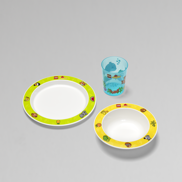LEGO Duplo Tableware, cup, large plate, small deep plate, mealtime, colorful, plastic,